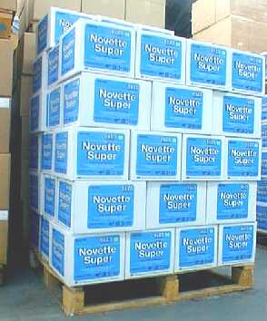 Novette Super - colour-coded towels - 70gsm - ANTIBAC TREATED - on a pallet waiting for despatch - www.wipersupply.com
